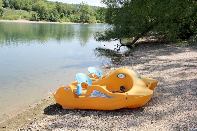 Paddle boat on beach