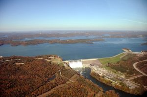 View of Table Rock dam from the air