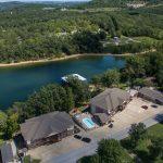 Aerial shot of resort and lake