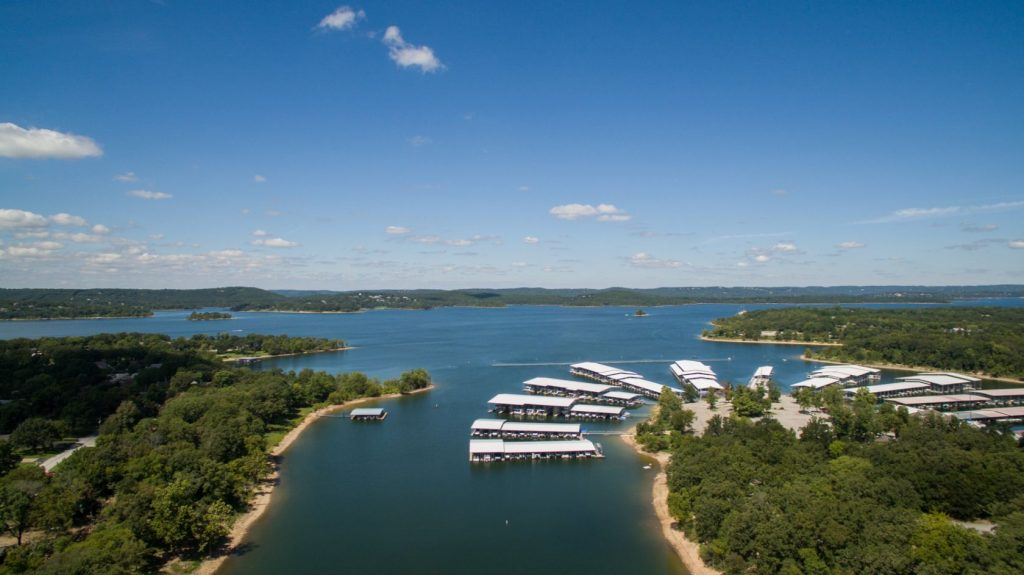 Aerial shot of Table Rock Lake